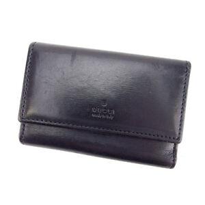 Gucci Key holder Key case Logo Black Silver Woman Authentic Used Q064