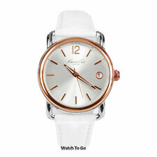 NEW KENNETH COLE WATCH for Women * White Leather Band w/Date Window * KC2824