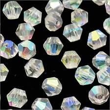 Lot de 40 Perles Tchèques Toupies en Cristal 4mm Cristal AB