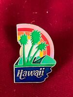 Hawaii Script Souvenir Palm Trees Rainbow Enamel Tie Lapel Pin Travel 1""