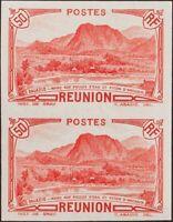 Reunión. MNH **Yv 136a(2). 1933. 50 cts rojo, pareja. SIN DENTAR. MAGNIFICA. Yv