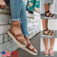 Womens Platform Sandals Espadrille Ankle Strap Ladies Summer Peep Toe Shoes Size