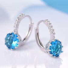 Women Blue Aquamarine&Sapphire Crystal Beaded Silver Smart Leverback Earrings