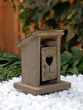 "Miniature Dollhouse FAIRY GARDEN Furniture ~ MICRO Mini 2¼"" Wood Outhouse ~ NEW"