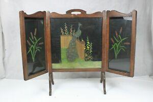 Quality Solid Oak Edwardian Triptych Panel Fire Screen Handpainted Peacock