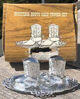 Vintage Western Cowboy Boots Salt Pepper Shakers Souvenir Great Smoky Mountains
