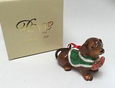 Dachshund Dog in Coat Fine Porcelain Christmas Tree Ornament DNC New
