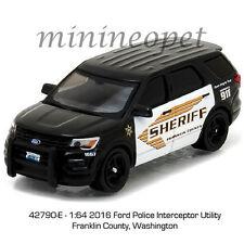 GREENLIGHT 42790 E 2016 FORD INTERCEPTOR UTILITY FRANKLIN WASHINGTON POLICE 1/64