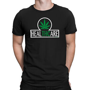Mens Cannabis Stoner TShirt Organic Cotton - healTHCare THC - Marijuana Weed Tee