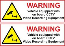 2 x VEHICLE ON BOARD CCTV Dash Cam Video Camera Van Truck Car Sticker 15cm