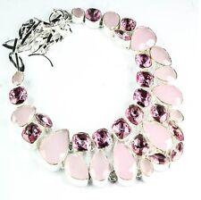 """Handmade Pink Rose Quartz Gemstone 925 Sterling Silver Necklace 18"""" #H00017"""
