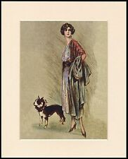 BOSTON TERRIER PRETTY LADY WALKING DOG LOVELY DOG PRINT MOUNTED READY TO FRAME