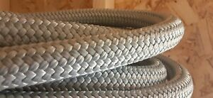 """1"""" - 1 inch x 30 ft. Double Braid Polyester Rope Hank.Light Gray. Discounted."""