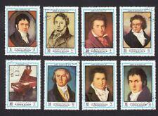 BEETHOVEN = Music = German Composer = Portrait = set of 8 Ajman Mi 1336a-1343a