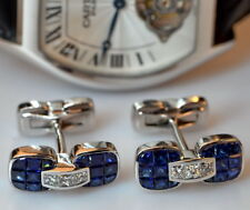 Top of the line GRAFF 18k white gold diamonds sapphires cufflinks