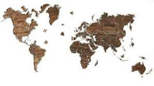 World Map 3D Wooden Wall Room Decor Home & Office decoration - UNIQUE & HANDMADE