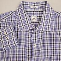 Peter Millar Mens Button Up Shirt Long Sleeve Size Large Plaid Gray White Purple