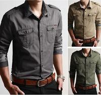 Men's Epaulet New Military T Shirt 100%Cotton Casual Slim Dress Shirts MT277