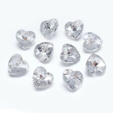 10 x Crystal Glass Faceted Heart Clear Pendant Charms Silverplated Back