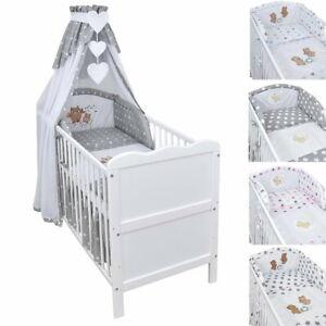 Babybett Kinderbett Juniorbett 120x60 Weiß Bettset Applikation komplett