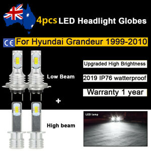 For 2003 2004 Hyundai Grandeur 4x Headlight Globes High Low beam LED Bulb set A1