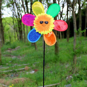 Cute Colorful Sunflower Windmill Toy Kids DIY Outdoor Toys Garden Yard DecoYUP1