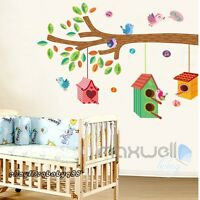 Bird House on Tree Branch Wall decal Removable stickers kids nursery decor mural