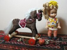Old Vintage Germany 1960s Horse on Wheels with Doll