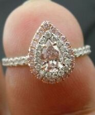 Certified 2.40Ct Pear Cut Pink Diamond Halo Engagement Ring in 14K White Gold