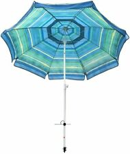 7 ft Striped Color Reinforced Beach Umbrella Tilt Aluminum Pole and Integrated