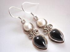 Cultured Pearl and Black Onyx Teardrop 925 Sterling Silver Dangle Earrings