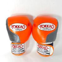 YOKKAO BOXING MUAY THAI GLOVES MMA VINTAGE Orange And Black 12 OZ Rare