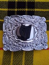 Scottish Thistle Crest Kilt Belt Buckle In Two Tone Chrome & Matt Black Badge