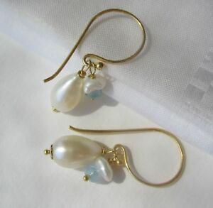 Ohrhänger Zucht Süßwasser Keshi Perlen Perlenohrringe Silvber Gold Rosegold