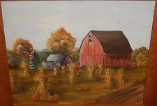 RED BARN HAY STACK PUMPKIN FARM LAND OIL ON BOARD LANDSCAPE PAINTING