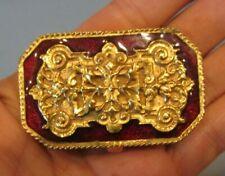 Rare Vintage Estee Lauder Ruby Red Enamel & Gold Solid Perfume Pill Trinket Box