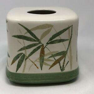 Ceramic Square Tissue Box Holder White w/ Green Bamboo Leaves