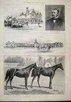 Old Antique Print 1891 Falmouth House Newmarket Blundell Childwick Common 19th