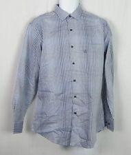NWT Men's Alfani Button Down Dress Shirt Blue Optic Check 15 Neck 32/33 Sleeve