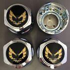 New PONTIAC FIREBIRD TRANS-AM Hub Wheel Center Cap Chrome/Gold SET of 4  for sale