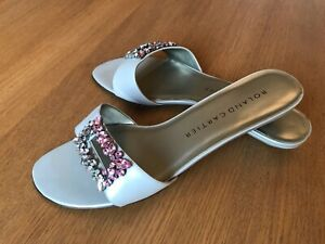 Ladies Womens Roland Cartier Low Heel Evening Mule Sandal Shoe Silver Size 6