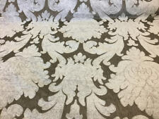 Gray Brown Grey Cotton Upholstery Drapery Chenille Fabric Floral Brocade Damask