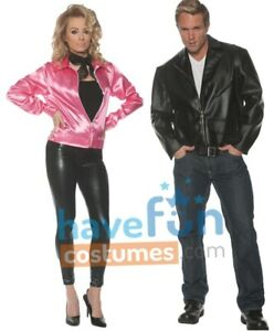 Couples Adult Costumes Danny and Sandy 50s Pink Ladies Greaser Halloween