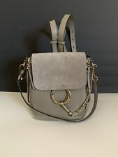 Chloe Small Faye Suede & Leather Backpack Motty Grey