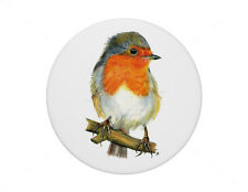 Robin Red Breast pin badge 7.7cm diameter. British Garden Bird.