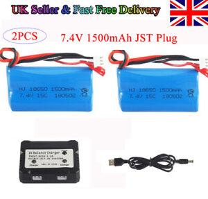 2PCS 7.4V 1500mAh Li-ion Battery w/ JST Plug for RC Car Helicopter Boat