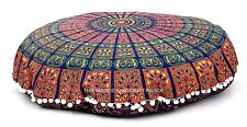 Mandala Indian Round Floor Cushion Cover Meditation Yoga Pillow Ottoman Pouf 32""