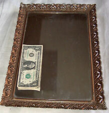 "Vintage 16"" x 10.5"" Gold-Toned Footed Metal Filigree Vanity Mirror Makeup Tray"