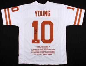 Vince Young Signed Texas Longhorns Career Highlight Stats Jersey (JSA COA)