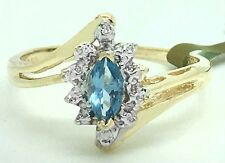 GENUINE 0.40 carats BLUE TOPAZ & DIAMONDS 10k Yellow Gold RING *New with tag*